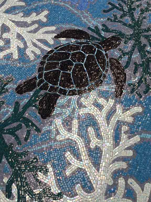 Mosaic Turtles with Monochromatic coral scene
